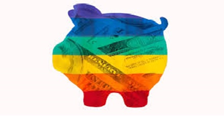 a piggy bank in rainbow colours