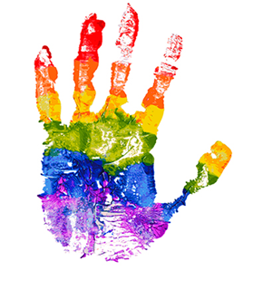 a rainbow coloured painty handprint