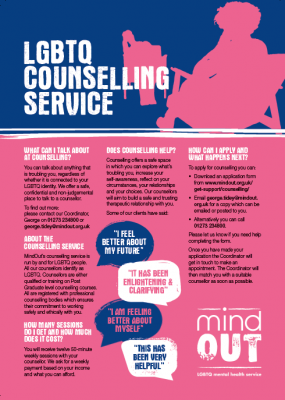 MIndOut Counselling Service Flyer
